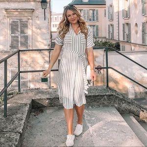 Striped Button Down Midi Dress